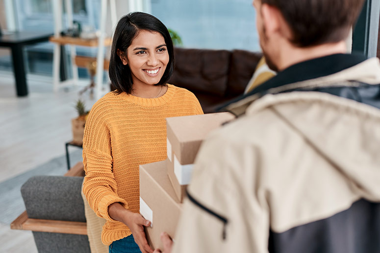 woman accepting parcel