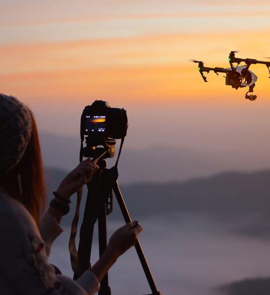 sandisk camera capturing drone flying